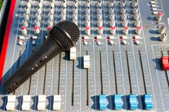 Microphone on Mixing Console of a big HiFi system, The audio equipment and control panel. Close up Microphone on Mixing Console of a big HiFi system, The audio royalty free stock photo