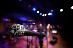 Horizontal Microphone on Music Stage Royalty Free Stock Photography