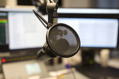 Close-up of a microphone in radio station broadcasting studio Stock Photography