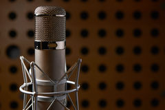 Close Up Of Microphone In Recording Studio Stock Photo