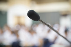 Close up Microphone selective focus over the blurred photo of co Royalty Free Stock Images