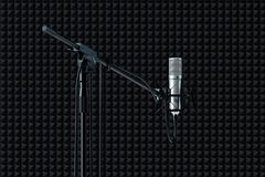 Close up of microphone set up isolated on black background. 3d rendering. vector illustration
