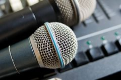 close up microphone on the sound mixer Royalty Free Stock Photo