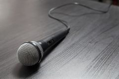 Microphone on the table stock photos
