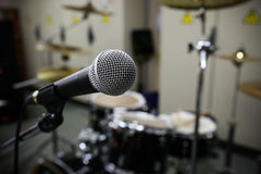 Close up of microphone with vintage picture style. Music equipment in training room Stock Photo