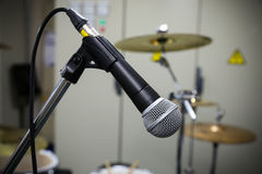 Close up of microphone with vintage picture style. Music equipment in training room Royalty Free Stock Image