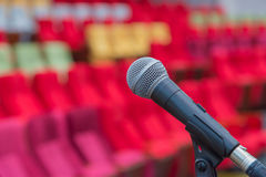Close up of microphones in theatre or conference hall Stock Photo