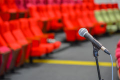 Close up of microphones in theatre or conference hall Royalty Free Stock Photography