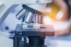 Close up microscope equipment for research experiments. In science laboratory Stock Photography