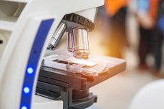 Close up microscope equipment for research experiments Royalty Free Stock Images