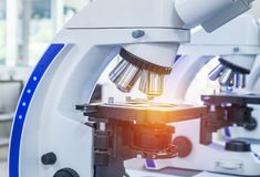 Close up microscopes equipment for research experiments. In science laboratory Stock Photos