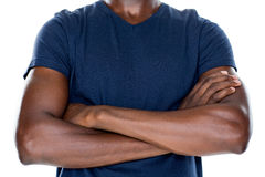 Close up mid section of man with arms crossed Royalty Free Stock Images