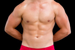 Close-up mid section of a shirtless muscular man Royalty Free Stock Image