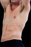 Close-up mid section of a shirtless muscular man Royalty Free Stock Photos