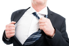 Close-up of middle age man taking his tie off Stock Image