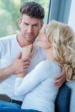 Close up Middle Age Romantic Lovers in White Stock Photography