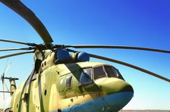 Close-up military helicopter equipped with guided anti-tank missiles and aircraft missiles. Close-up military helicopter equipped with guided anti-tank missiles stock photos