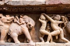 Close up military stone carving in Lakshman Temple Stock Images