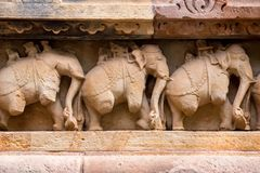 Close up military stone carving in Lakshman Temple Stock Photos