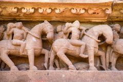 Close up military stone carving in Lakshman Temple Royalty Free Stock Image