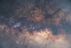 Close-up of Milky way galaxy with stars and space dust in the un. Iverse, Long exposure photograph, with grain royalty free stock photography