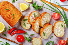 Close-up of  minced fish fillet roll-up Royalty Free Stock Image