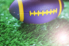 Close up of mini American football on the green grass Royalty Free Stock Photography