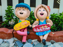 Close up mini child statuary. In thailand Royalty Free Stock Photos