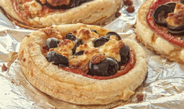 Close up of mini pizzas Royalty Free Stock Photos