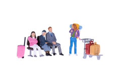 Close up of Miniature backpacker and tourist people Stock Images