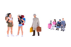 Close up of Miniature backpacker and tourist people Royalty Free Stock Photography