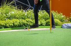 Close-up of miniature golf hole with bat and ball Stock Photography