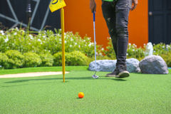 Close-up of miniature golf hole with bat and ball. Close-up of miniature golf hole with bat and ball Royalty Free Stock Photo