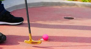 Close-up of a miniature golf putter and a pink golf ball stock images