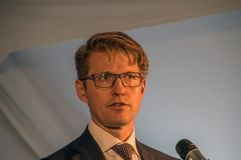 Close Up From Minister Dekker At Almere The Netherlands 2018. Opening after moving from Utrecht To Almere City The Netherlands. The new location of the Pieter stock images