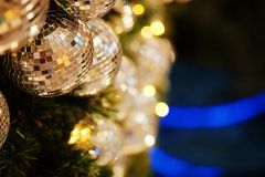 Close up mirror ball or Christmas ball to decorative for Christmas festival with bokeh background. Stock Images