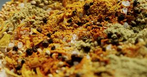 Mix spices in bowl 4k stock video