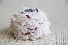 Close up mix of steam jasmine rice and berry rice Royalty Free Stock Photos