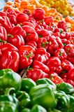 Close-up of mixed colored bell peppers at a farmer`s outlet stock photography