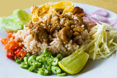 Close up mixed cooked rice with shrimp paste sauce Royalty Free Stock Image