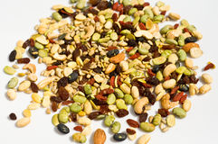 Close up of a mixed of nuts, dry fruits. Organic mixed nuts made in Thailand Royalty Free Stock Photo