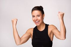 Close up of mixed race woman gains victory Royalty Free Stock Photo