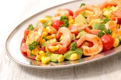 Mixed salad with shrimp. Close up on mixed salad with shrimp Royalty Free Stock Images