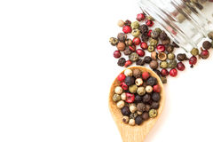 Close up mixed type of the peppercorns in wooden spoon , top  Stock Photography