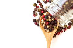 Close up mixed type of the peppercorns in wooden spoon , top Royalty Free Stock Photography