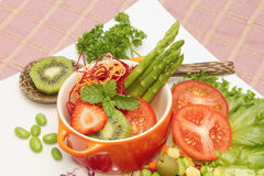 Close up of mixed vegetable and fruit salad,Healthy foodi Stock Photo
