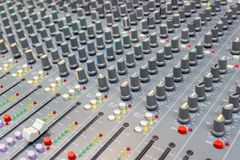 Close up Mixing Console of a big HiFi system, The audio equipment and control panel. Of digital studio mixer royalty free stock photos