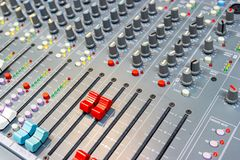 Close up Mixing Console of a big HiFi system, The audio equipment and control panel. Of digital studio mixer royalty free stock photo