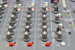 Close up Mixing Console of a big HiFi system, The audio equipment and control panel. Of digital studio mixer royalty free stock image