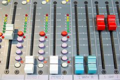 Close up Mixing Console of a big HiFi system, The audio equipment and control panel. Of digital studio mixer royalty free stock photography